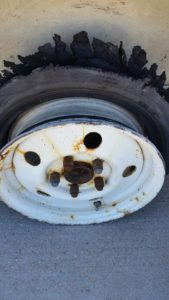 Boom! Shredded tire.