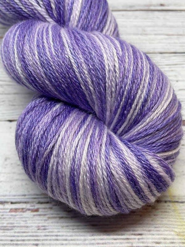 Close of view of tonal light purple sock yarn